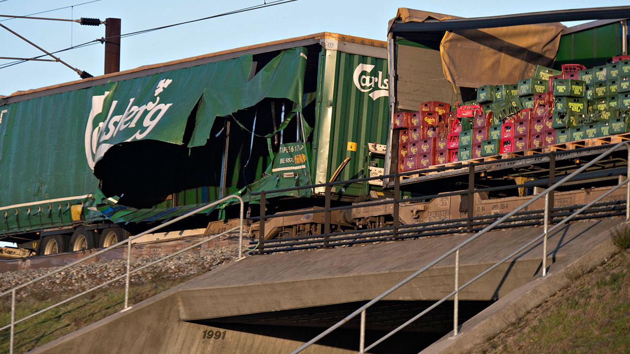 Damaged containers on a cargo train are seen on the Great Belt Bridge after a railway accident on January 2, 2019 in Nyborg, Denmark.
