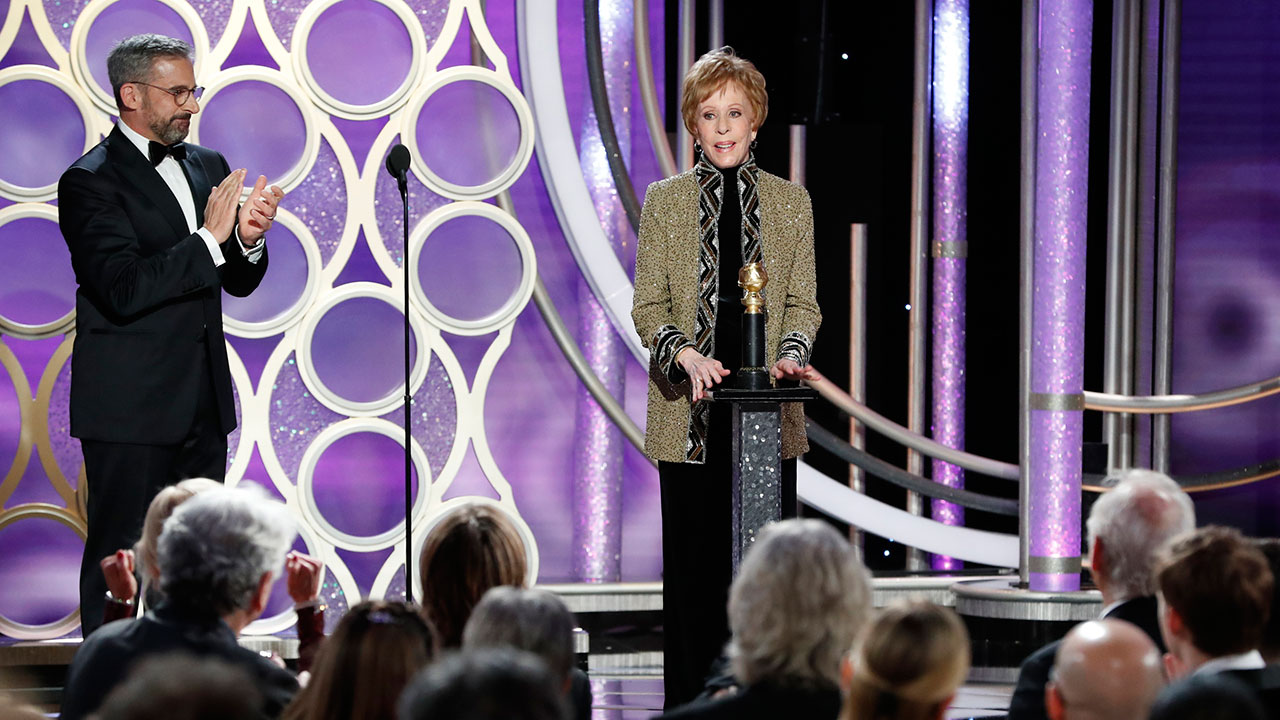 Carol Burnett accepts the inaugural Carol Burnett TV Achievement Award from presenter Steve Carell during the 76th Annual Golden Globe Awards on Sunday, Jan. 6, 2019.