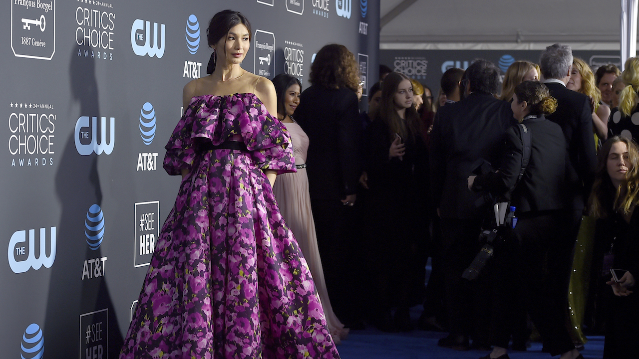 Gemma Chan arrives at the 24th annual Critics Choice Awards on Sunday, Jan. 13, 2019, at the Barker Hangar in Santa Monica, Calif.