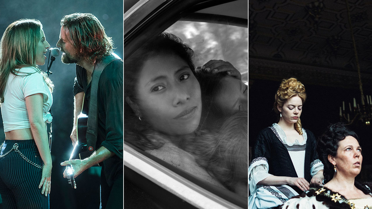 Screenshots are shown from A Star Is Born, Roma, and The Favourite.