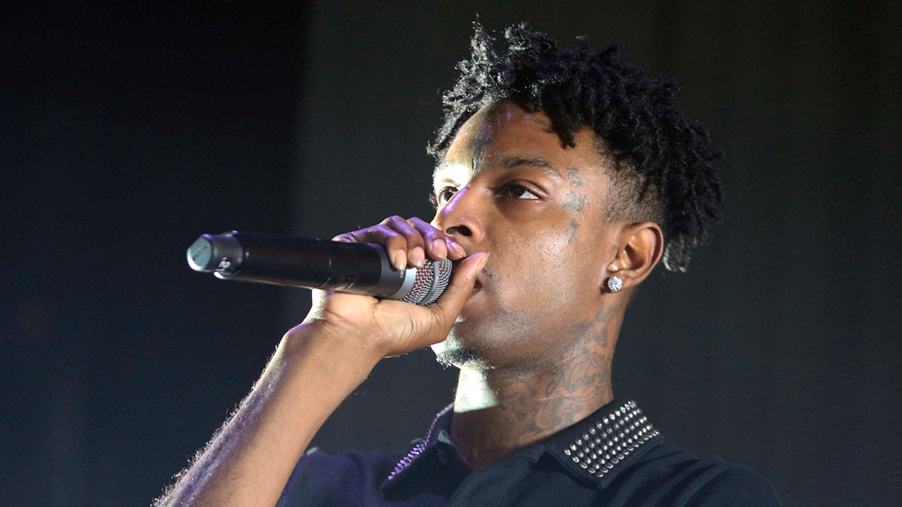 21 Savage performs as the opener for Post Malon at the Cellairis Amphitheatre at Lakewood on Sunday, June 10, 2018, in Atlanta.