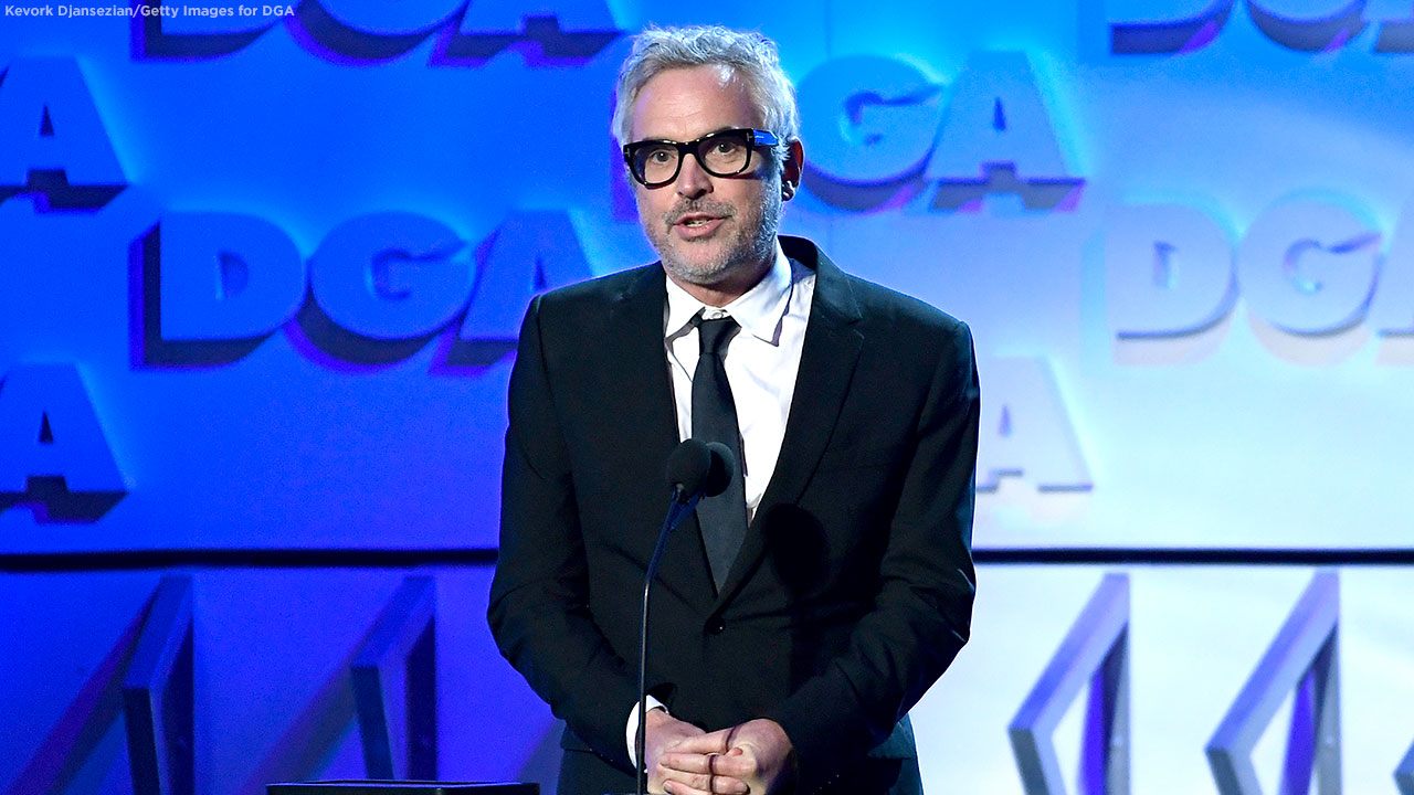 DGA Feature Film Award winner for Roma Alfonso Cuaron speaks onstage during the 71st Annual Directors Guild Of America Awards at The Ray Dolby Ballroom on February 02, 2019.