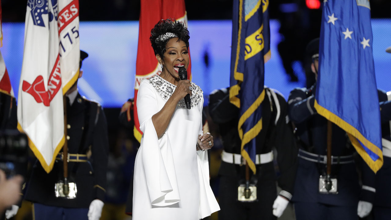 Gladys Knight sings the national anthem before the NFL Super Bowl 53 football game between the Los Angeles Rams and the New England Patriots Sunday, Feb. 3, 2019, in Atlanta.