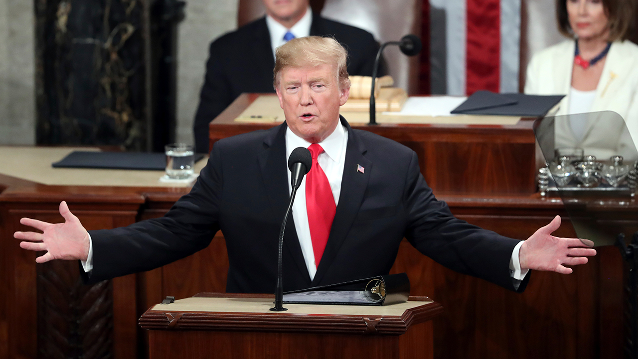President Donald Trump delivers his State of the Union address on Capitol Hill.