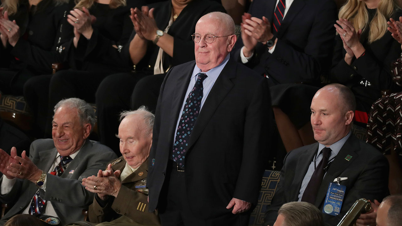 Holocaust survivor Judah Samet, a guest of President Trump, looks on during the State of the Union address in the chamber of the U.S. House of Representatives on February 5, 2019.