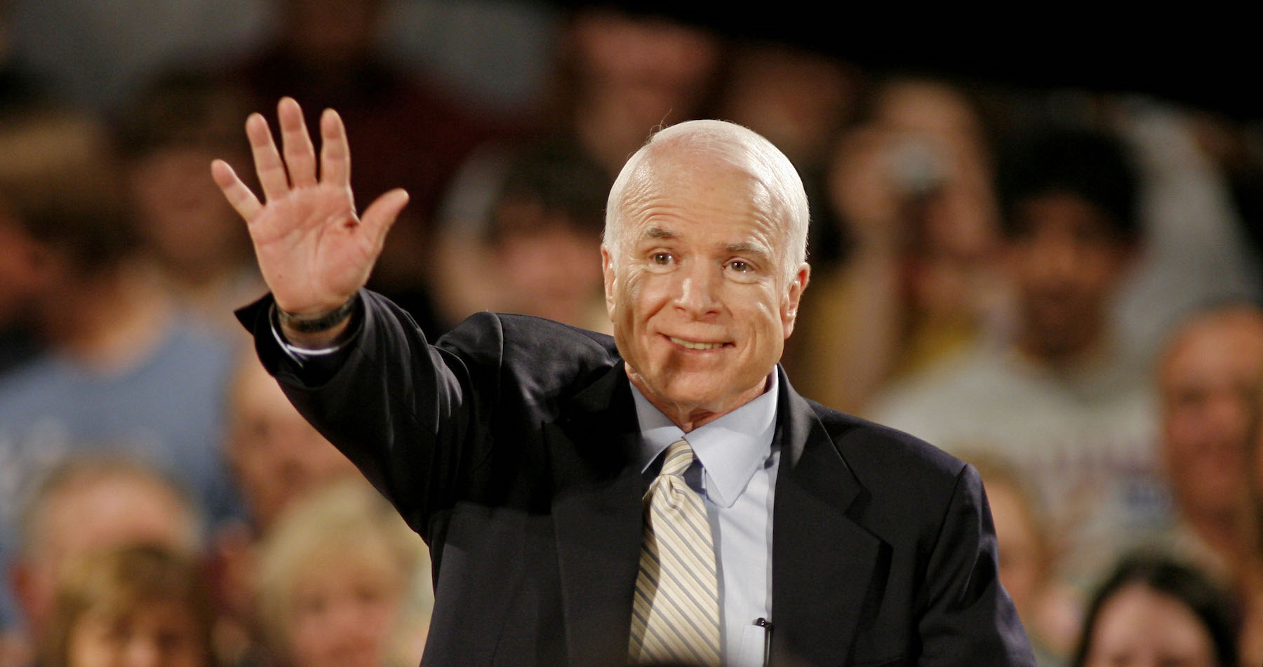 Republican presidential candidate Sen. John McCain, R-Ariz., waves to supporters before speaking at a town hall-style meeting on May 29, 2008, in Greendale, Wisc.