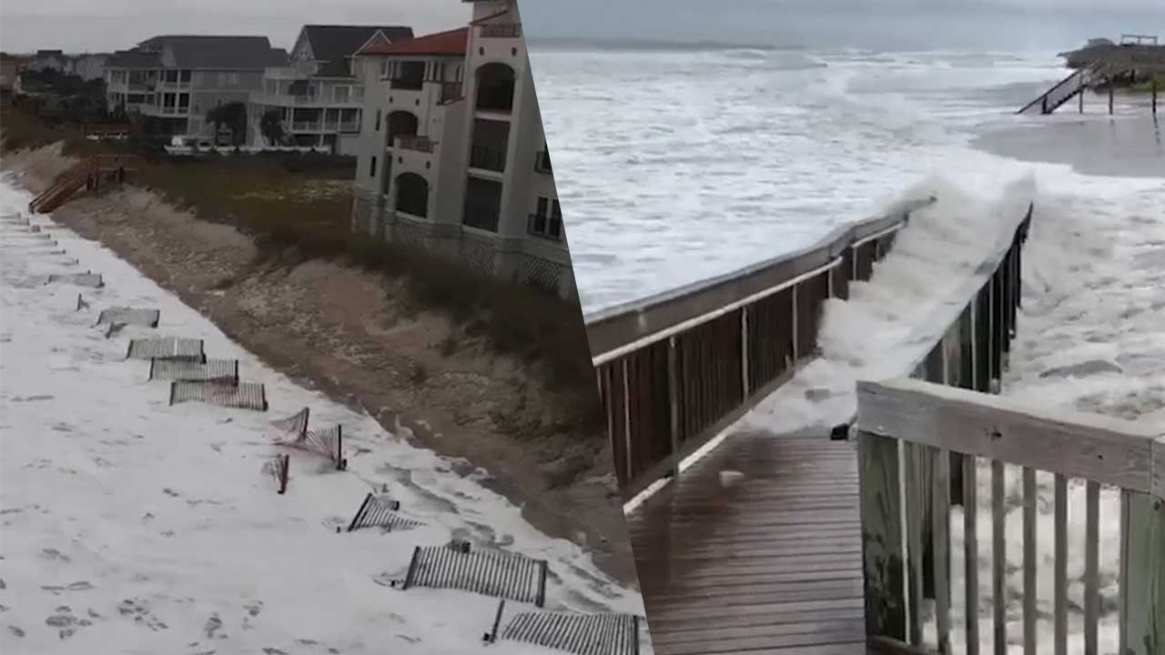 VIDEO: Hurricane Florence Winds Kick Up Surf