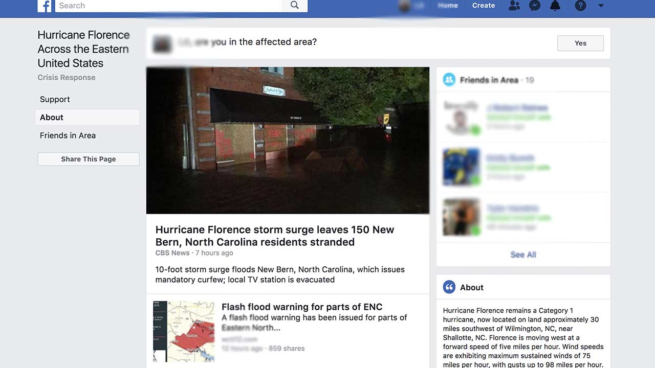 Facebook activates safety check feature for Hurricane Florence