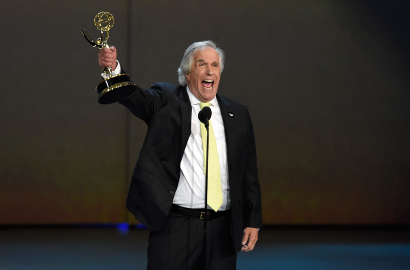 Henry Winkler accepts the award for outstanding supporting actor in a comedy series for Barry at the 70th Primetime Emmy Awards.