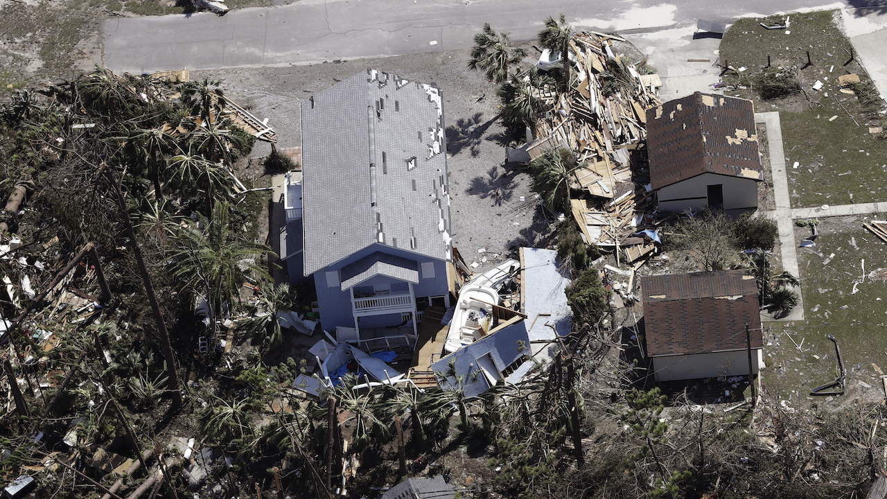 A home is destroyed from Hurricane Michael Thursday, Oct. 11, 2018, in Mexico Beach, Fla.