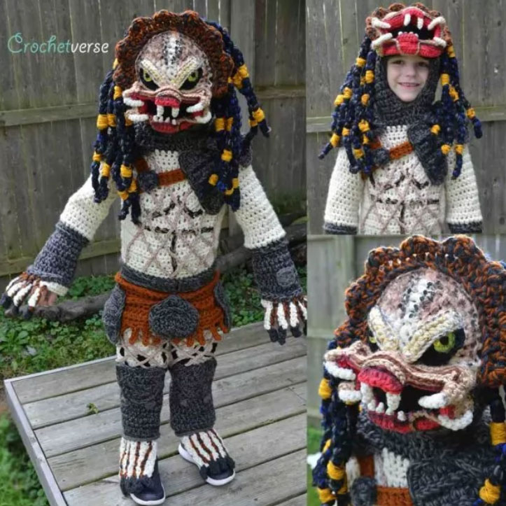 Mom crochets incredible 'Predator' Halloween costume for her 6-year-old