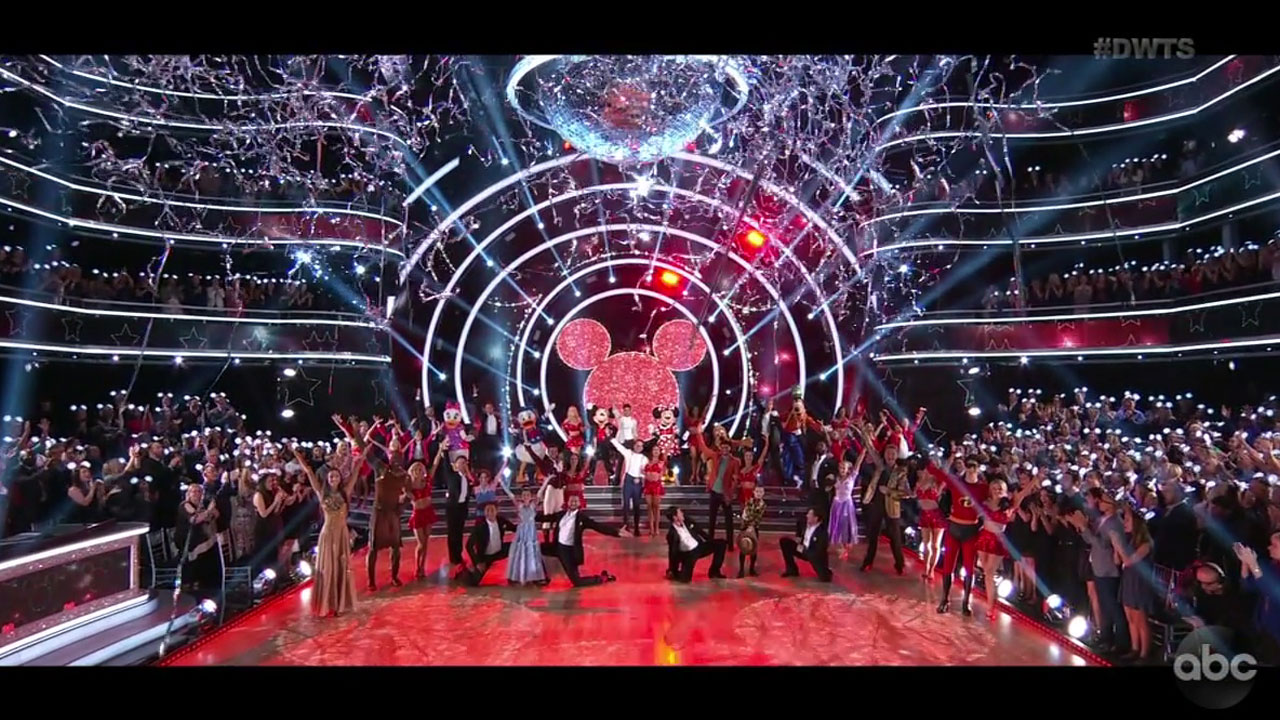The cast of Season 27s Dancing With the Stars are shown in the opening sequence for week fives Disney Night.