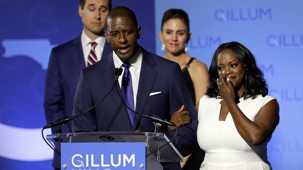 Florida Democratic gubernatorial candidate Andrew Gillum gives his concession speech Tuesday, Nov. 6, 2018, in Tallahassee, Fla.