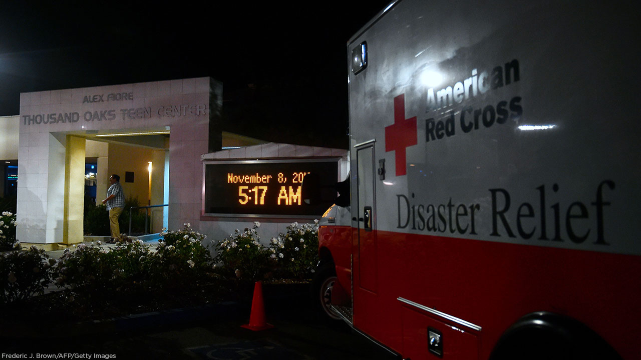 An American Red Cross Disaster Relief vehicle is seen outside the Thousands Oaks Teen Center offering family assistance following the shooting at Borderline Bar and Grill.