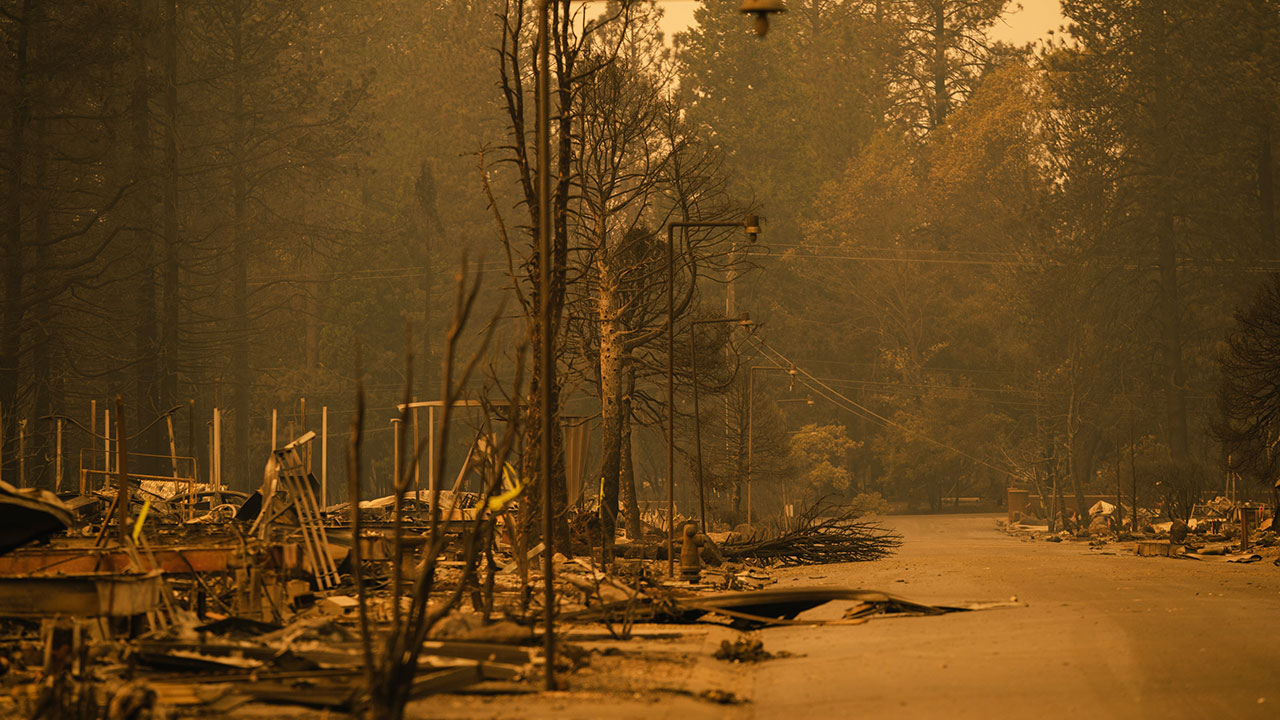A neighborhood of Pentz Road is decimated by the Camp Fire in Paradise, California on November 11, 2018.