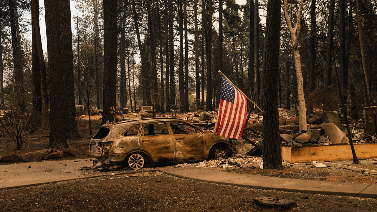 A home destroyed by Camp Fire in Paradise, California on November 11, 2018.