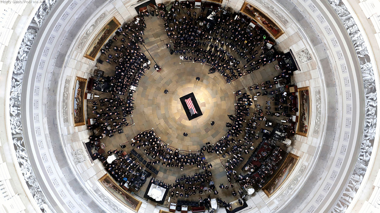 Vice President Mike Pence speaks during a ceremony as. Sen. John McCain, R-Ariz., lies in state in the U.S. Capitol Rotunda Friday, Aug. 31, 2018, in Washington.