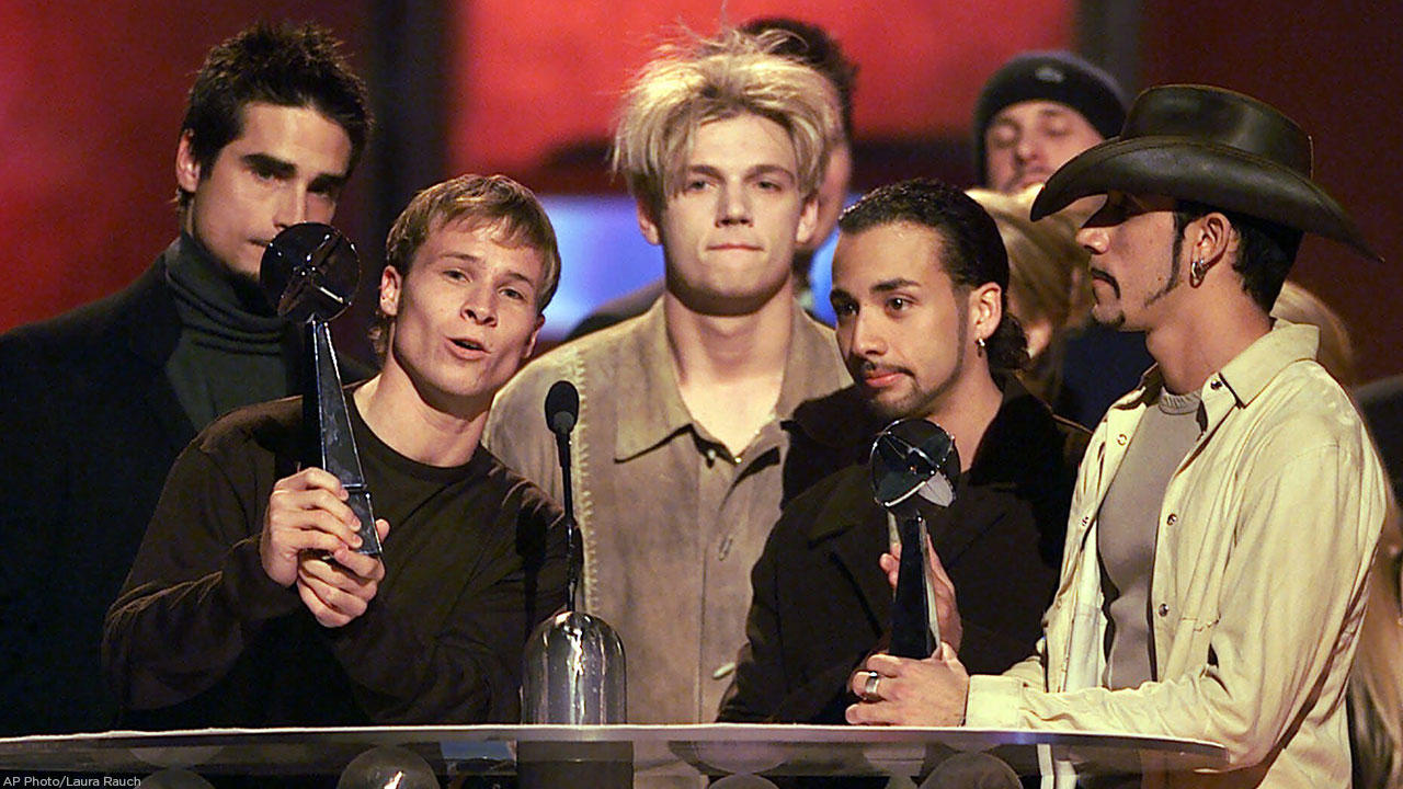 The Backstreet Boys accept the Album of the Year Award during The 1999 Billboard Music Awards show at the MGM Grand in Las Vegas, Wednesday, Dec. 8, 1999.