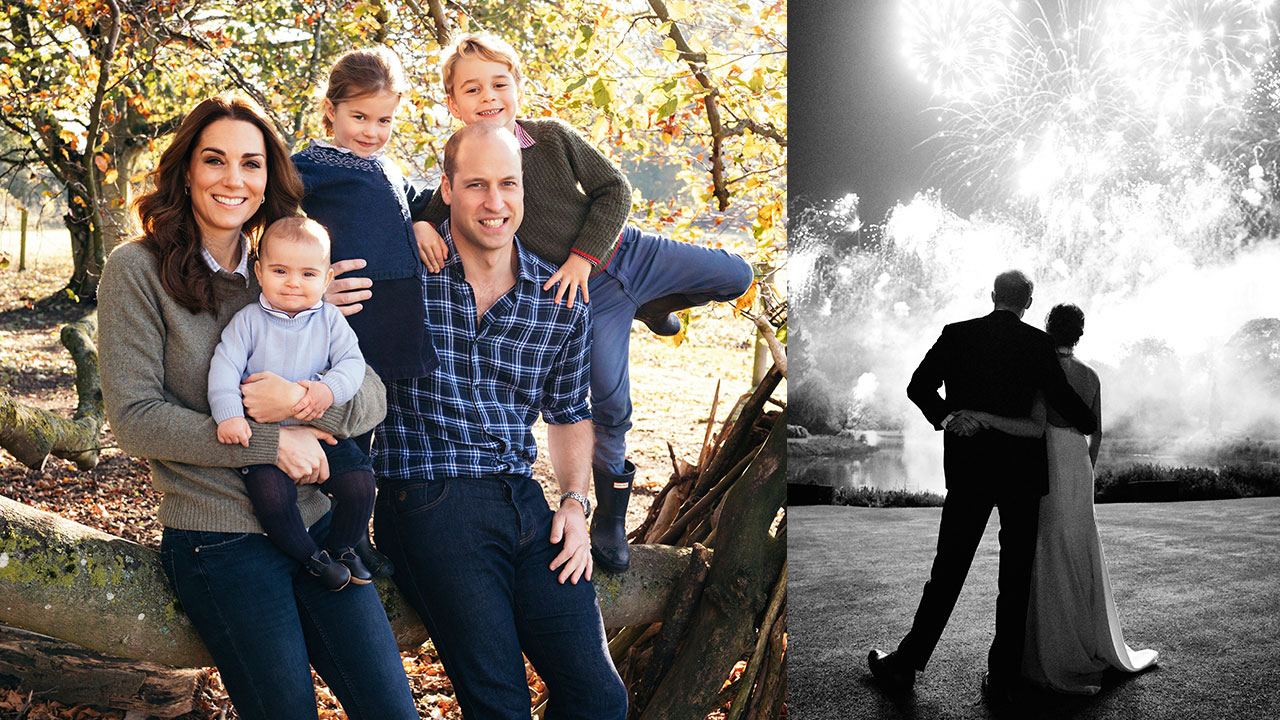 Prince William and wife Kate with Prince George, Princess Charlotte, and Prince Louis in their Christmas card (left), and Prince Harry and wife Meghan on theirs (right).