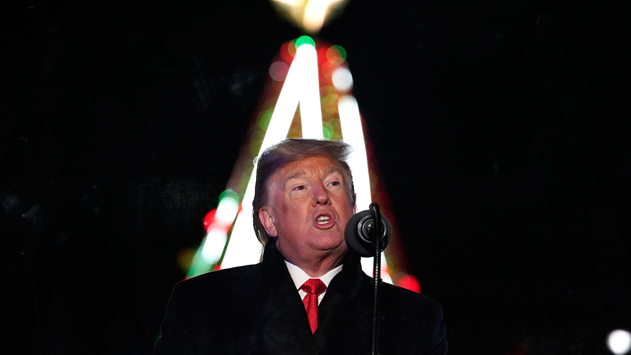 President Donald Trump and first lady Melania Trump light the National Christmas Tree during the National Christmas Tree lighting ceremony near the White House on Nov. 28, 2018.