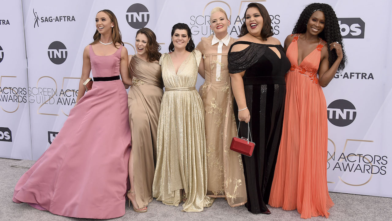 Britt Baron, from left, Rachel Bloom, Rebekka Johnson, Kimmy Gatewood, Britney Young, and Sydelle Noel arrive at the 25th annual Screen Actors Guild Awards.