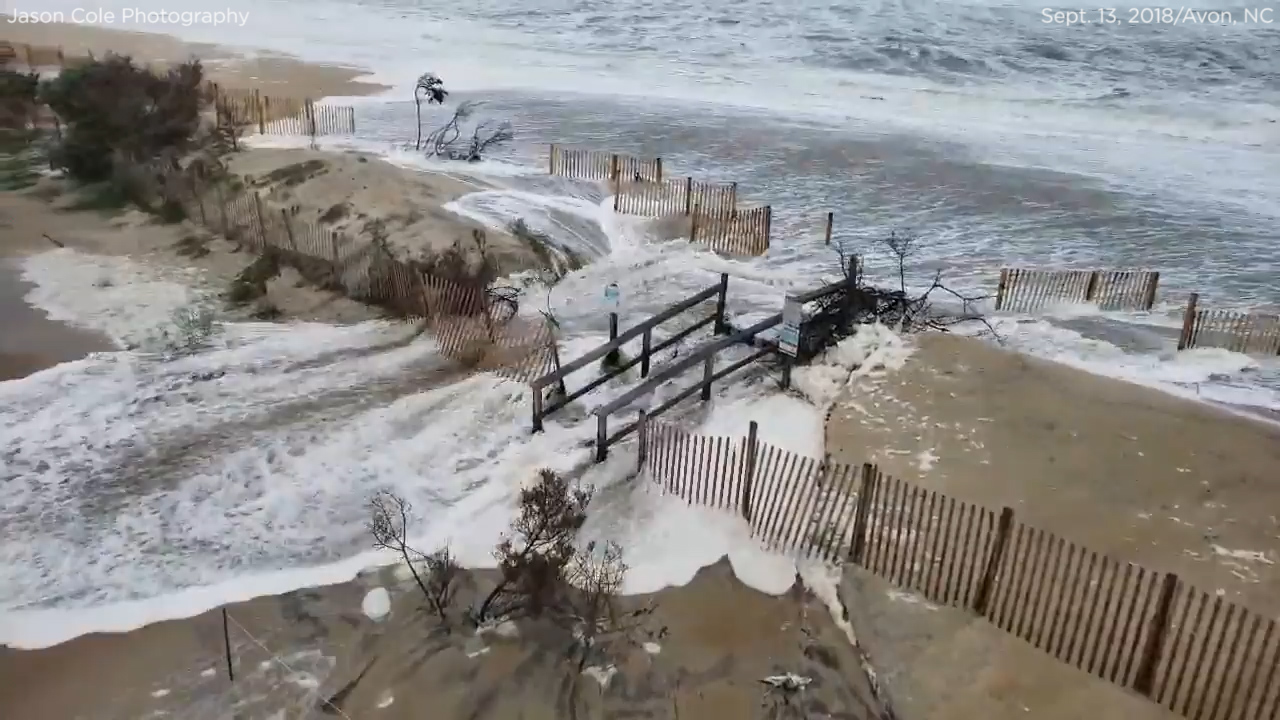 Hurricane Florence Video: Storm Surge Swallows Avon, North
