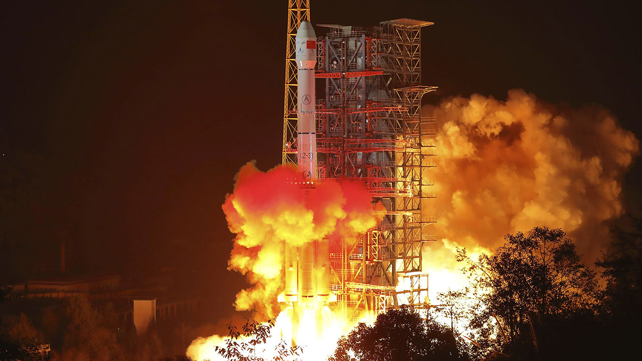 The Change 4 lunar probe, seen here launching from southwest China on Dec. 8, 2018, has landed on the far side of the moon, Chinese officials say.