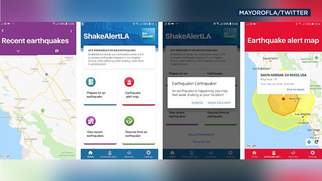 Mayor Eric Garcetti tweeted this image of the ShakeAlertLA app.