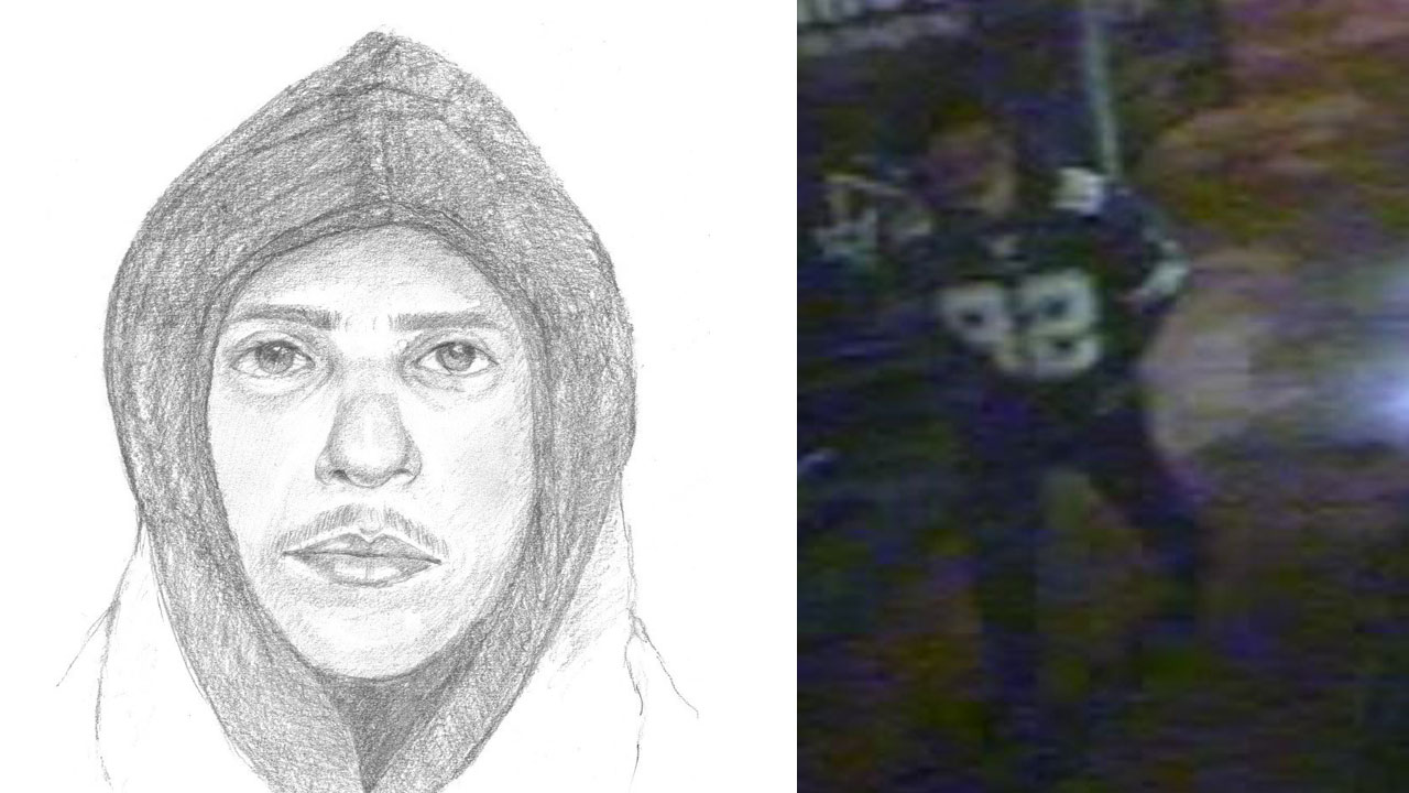 A sexual assault suspect is shown in a sketch and in footage captured by a bus camera in Santa Ana.