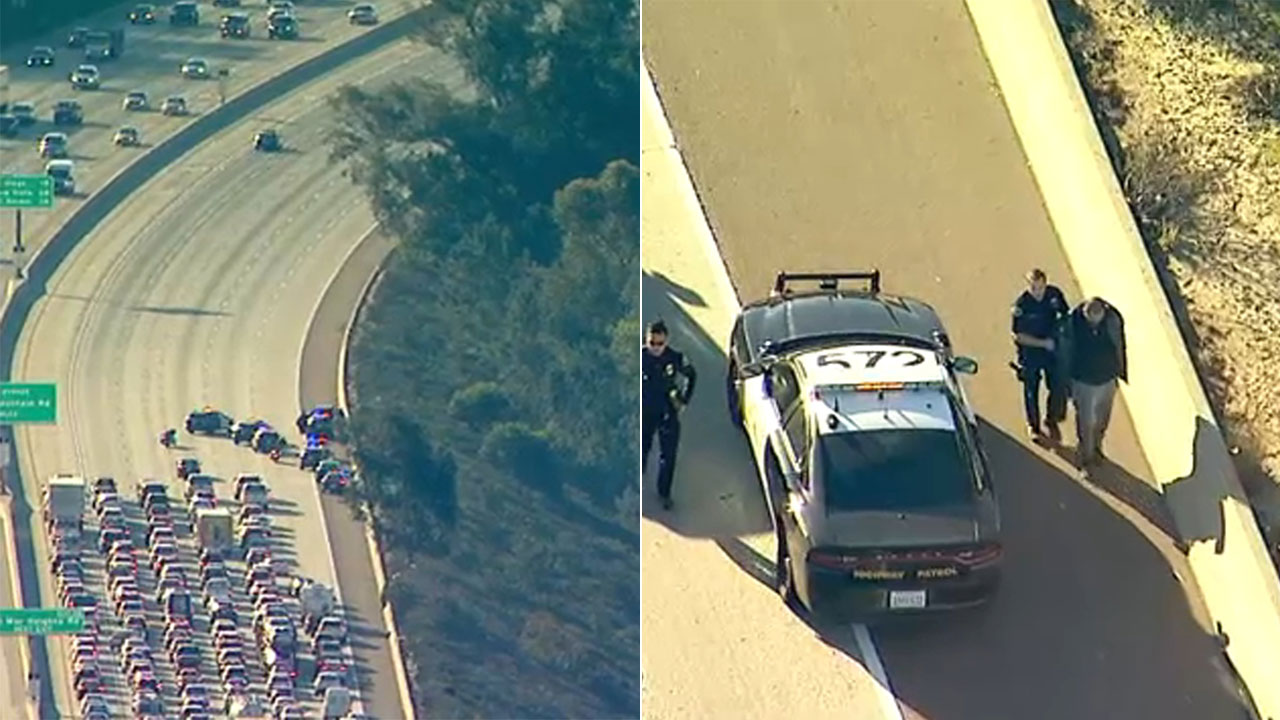 A murder suspect from Anaheim was taken into custody Tuesday after leading police on a chase that ended in San Diego County.
