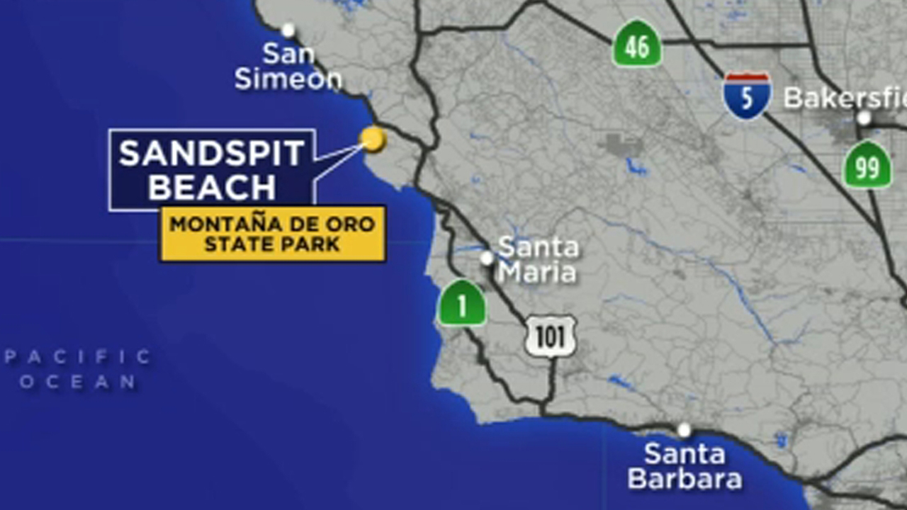 A map shows the area in Central California where a Rancho Palos Verdes teen survived a shark attack on Tuesday, Jan. 8, 2019.