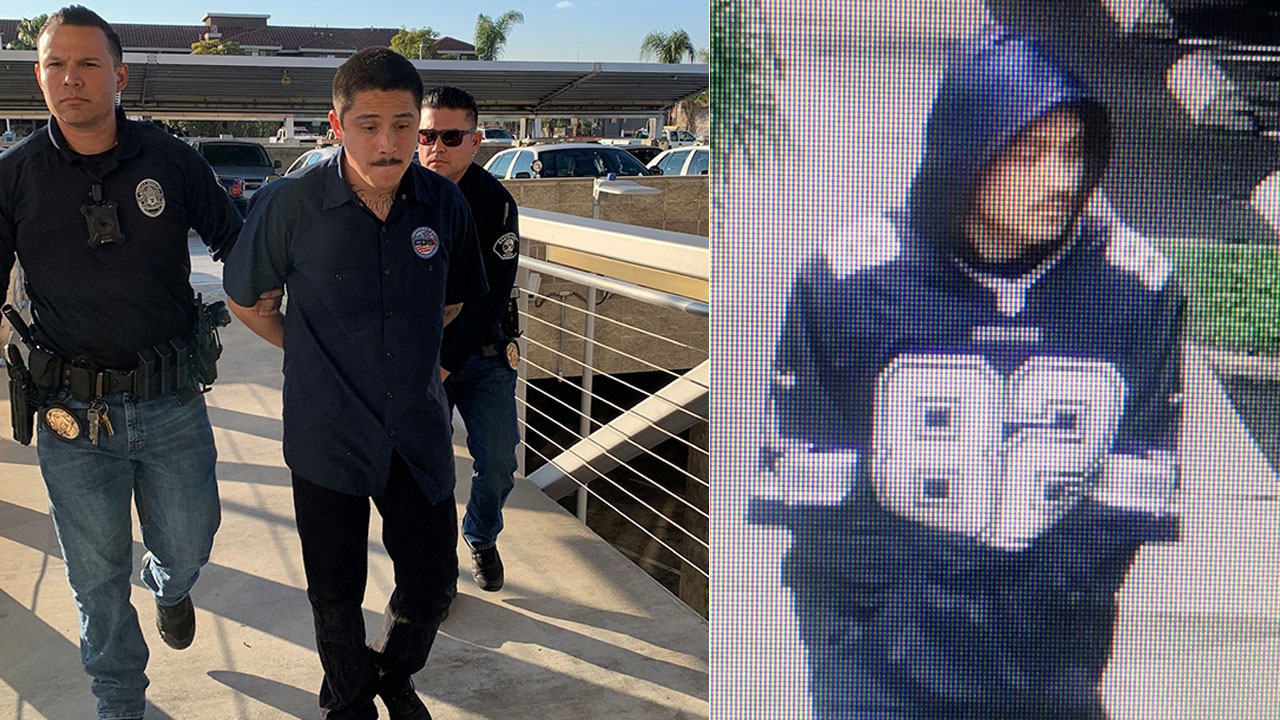Right: Surveillance video shows a suspect in a Santa Ana sexual assault. Left: Police say Erick Alvarez Hernandez, a 27 year-old resident of Santa Ana, was arrested in the assault.