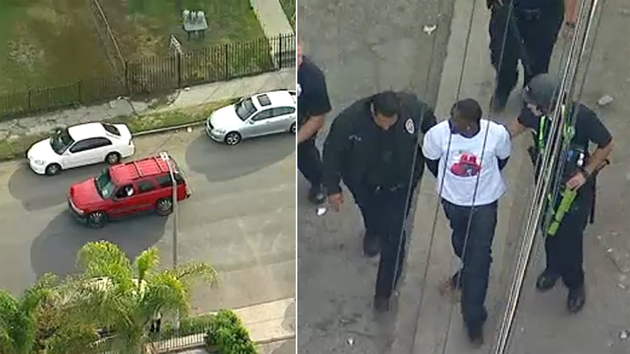An armed suspect is in custody after leading authorities on a bizarre stop-and-go chase in the South Los Angeles area on Friday.