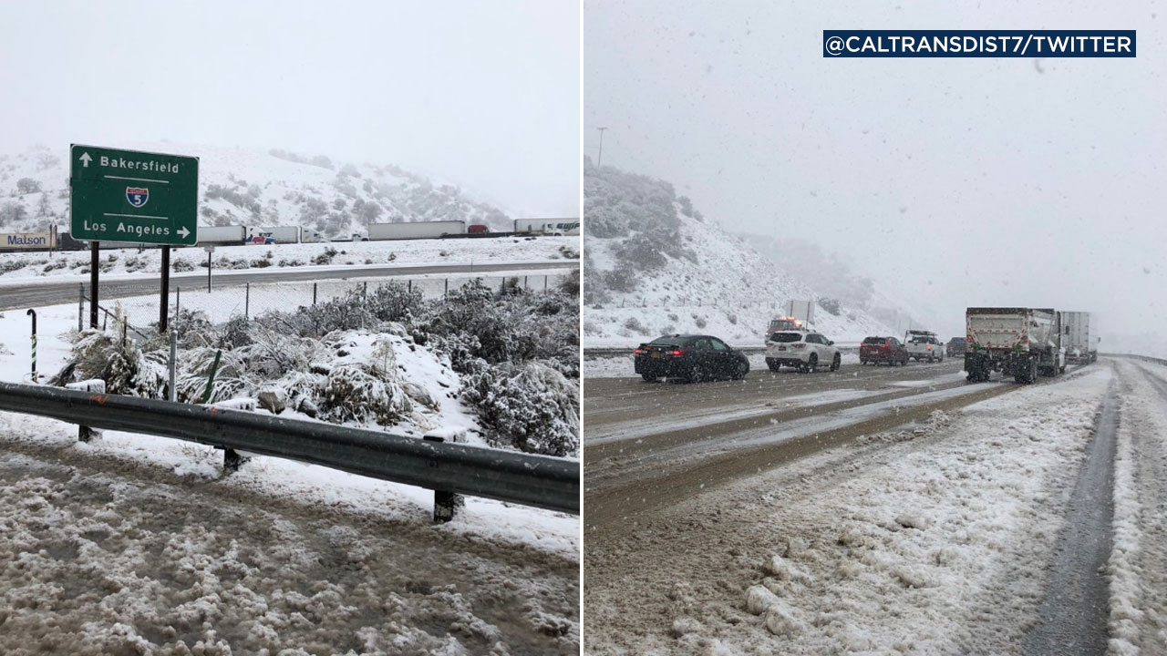 Snow covers the 5 Freeway through the Grapevine in photos posted by @CaltransDist7 on Twitter.