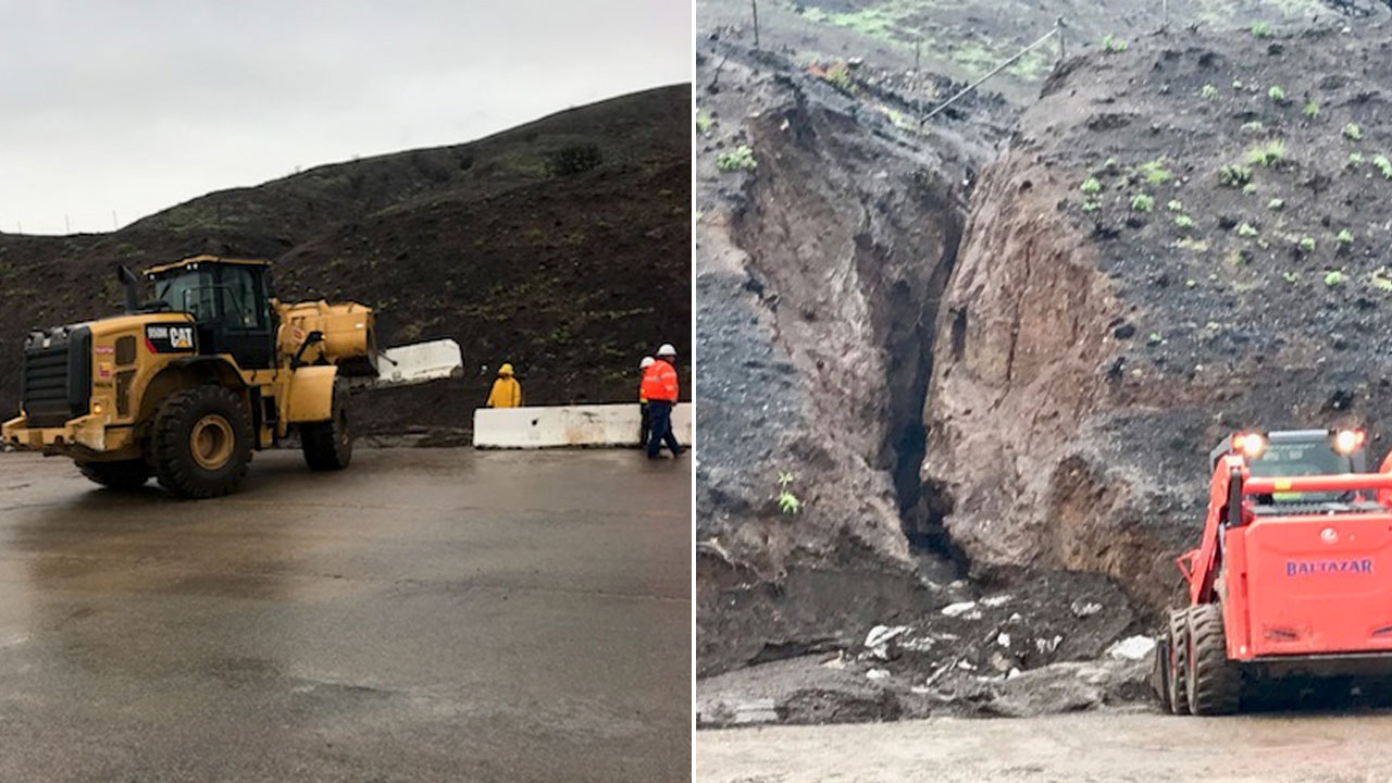 Crews work to clear a mudslide that shut down a portion of Pacific Coast Highway in Malibu on Monday, Jan. 14, 2109.