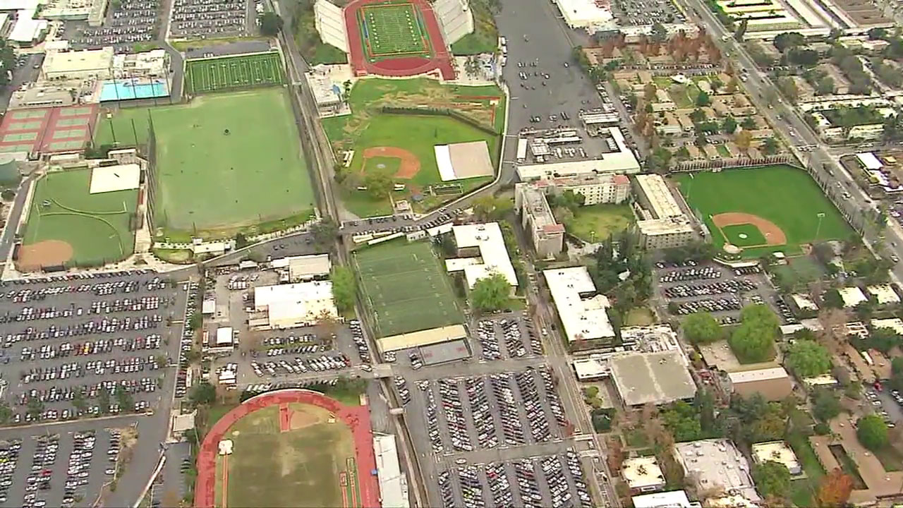 Aerials from AIR7 HD show the Citrus College campus on lockdown on Tuesday, Jan. 15, 2019.