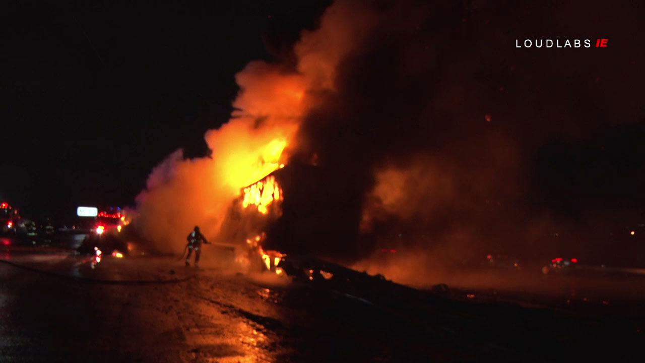 A truck crashed and caught on fire on the 10 Freeway in Colton.