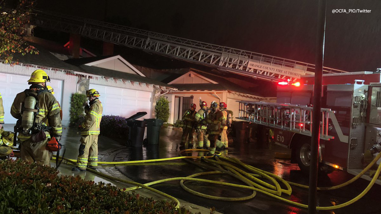 Firefighters are at the scene of a deadly duplex fire in Yorba Linda that killed two dogs on Wednesday, Jan. 16, 2019.