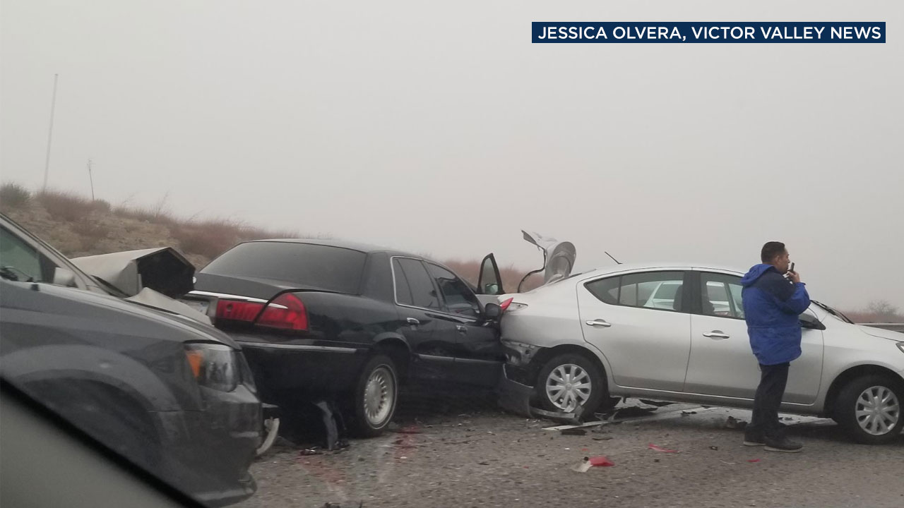 A multi-vehicle crash shut down lanes of the 15 Freeway in the Cajon Pass on Wednesday, JAn. 16, 2019.