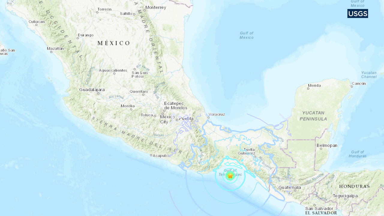 This map from the U.S. Geological Survey shows the location of an earthquake that struck in southern Mexico on Monday, Jan. 21, 2019.