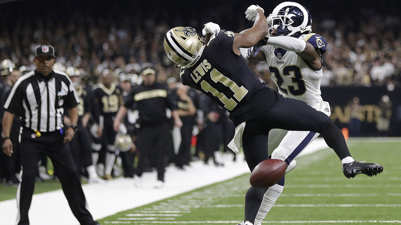 Rams defensive back Nickell Robey-Coleman gets tangled up with Saints wide receiver Tommylee Lewis in what many thought should have been a pass-interference call.