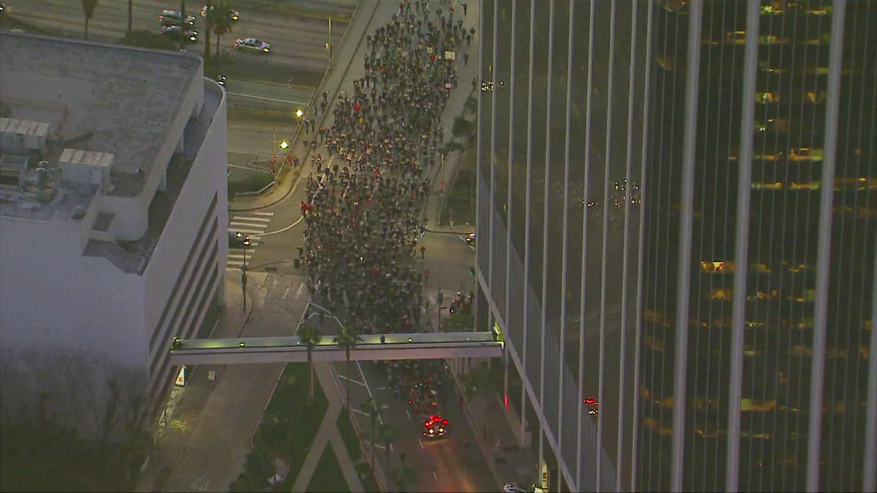 Hundreds of firefighters marched alongside striking teachers in downtown Los Angeles on Tuesday, Jan. 22, 2019.