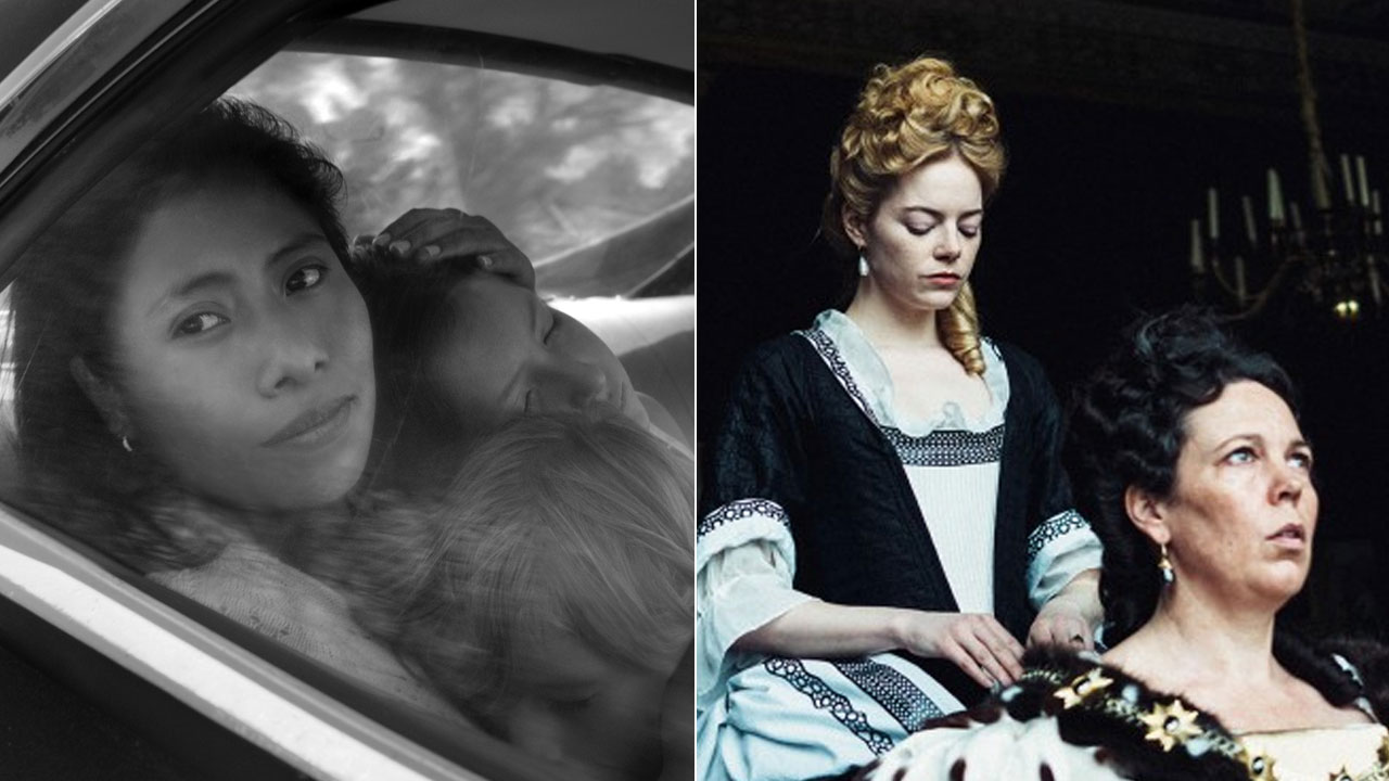 Screenshots are shown from Roma, and The Favourite.