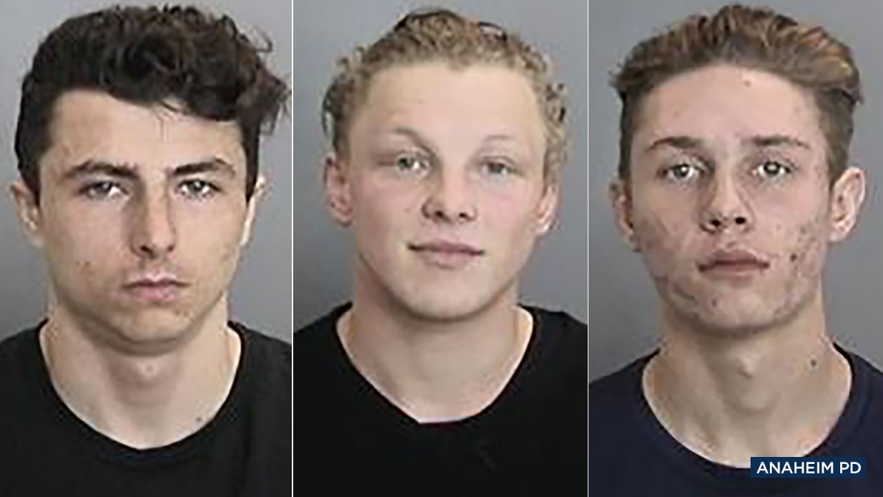 From left: Suspects Zachary Jay Goemaat, Larry Robert Douglass II and Jonathan Michael Rowe have been arrested in connection with a September 2018 homicide in Anaheim.