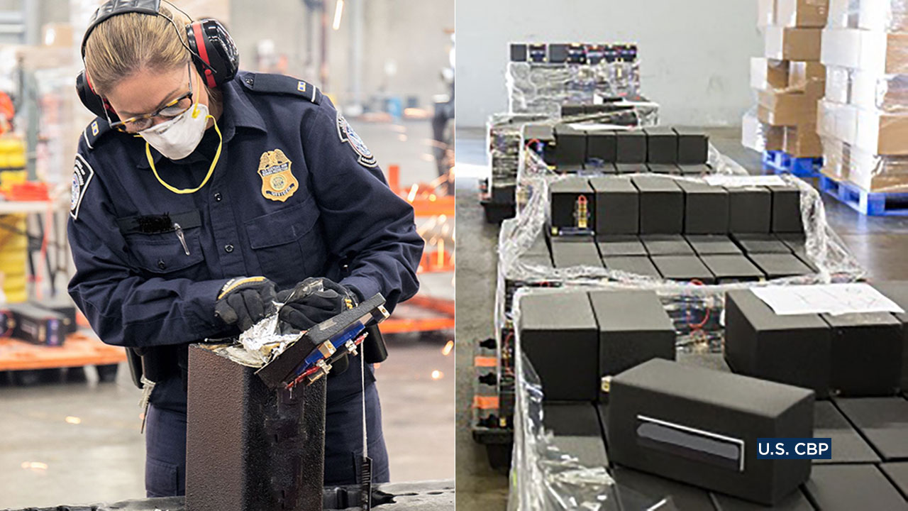 Federal officers extracted more than 1.7 tons of meth, cocaine and heroin concealed in speakers being shipped from Long Beach to Australia.