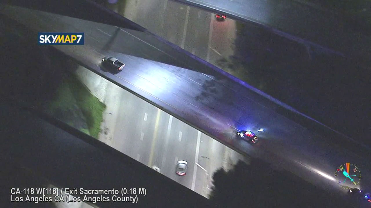 The driver in a silver Dodger pickup truck traveled at high speeds on the 118 Freeway as he tried to evade authorities during a chase in the San Fernando Valley.