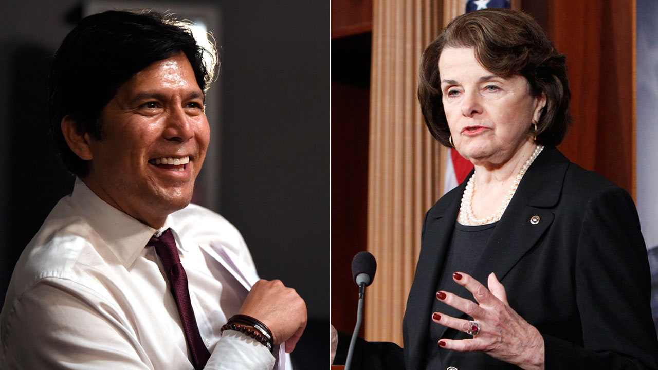 Kevin de Leon pictured Tuesday, June 5, 2018, in Los Angeles (left), and Sen. Diane Feinstein pictured Dec. 21, 2012 (right).