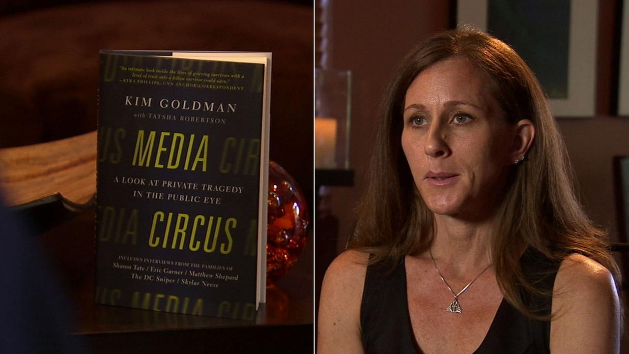 Kim Goldman and her book titled Media Circus are seen in these photos.