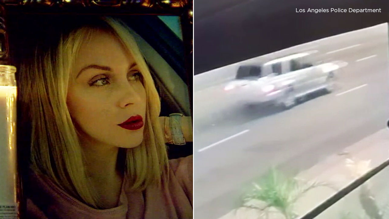 A split photo shows a hit-and-run victim who died after being struck in Encino (left). A surveillance image shows a silver SUV believed to be the suspect vehicle (right).