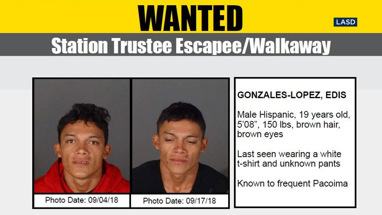 Authorities are looking for Edis Gonzales-Lopez, 19, who walked away from the Malibu/Lost Hills Sheriffs Station where he was an inmate trustee.